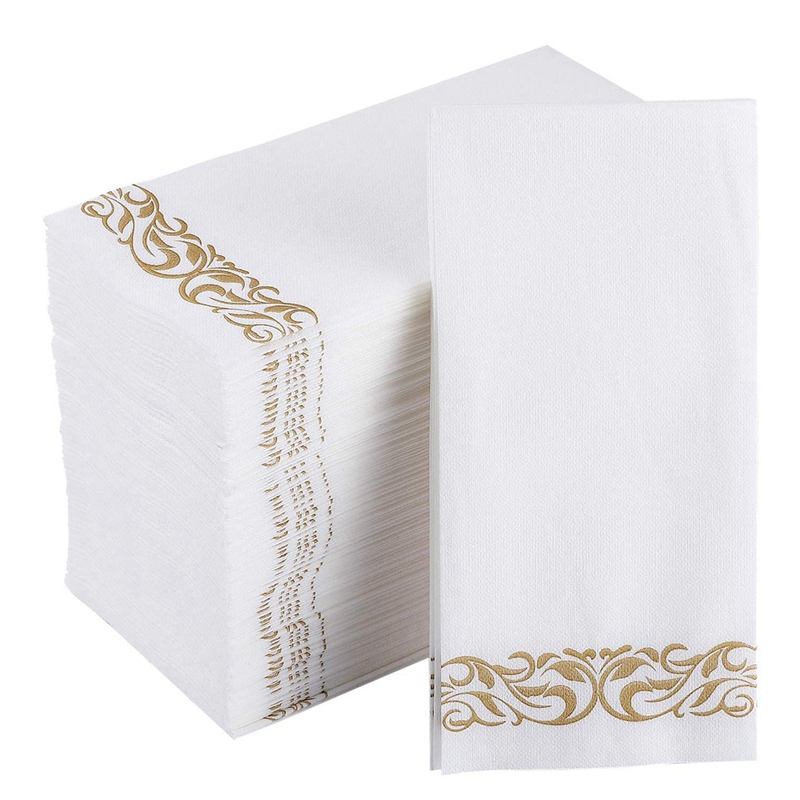 Disposable Hand Towels And Decorative Bathroom Napkins With Floral Trim Perfect For Holidays, Dinners, Parties, Weddings, Cateri