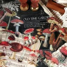 40 unids/bolsa pluma Vintage planta de champiñón adhesivo de PET DIY paquete diario, diario de bala decoración etiqueta engomada del álbum de scrapbooking