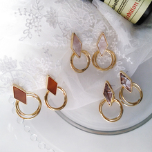 Temperament cold wind multilayer hollow-out the circle earrings fashion simple geometric  stud earrings adorn article the new european and american fashion earrings contracted dazzle colour hollow out long wings ms popular earrings adorn article