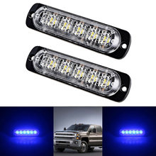 2pcs/Set 18W Car Truck Hazard Warning Beacon Flash Strobe 6-LEDs Lights Bar Blue 113*28.2*8mm For Pickup Motorcycle