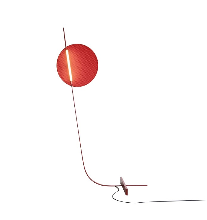 150cm High Red LED Floor Lamp With Metal Bar Base
