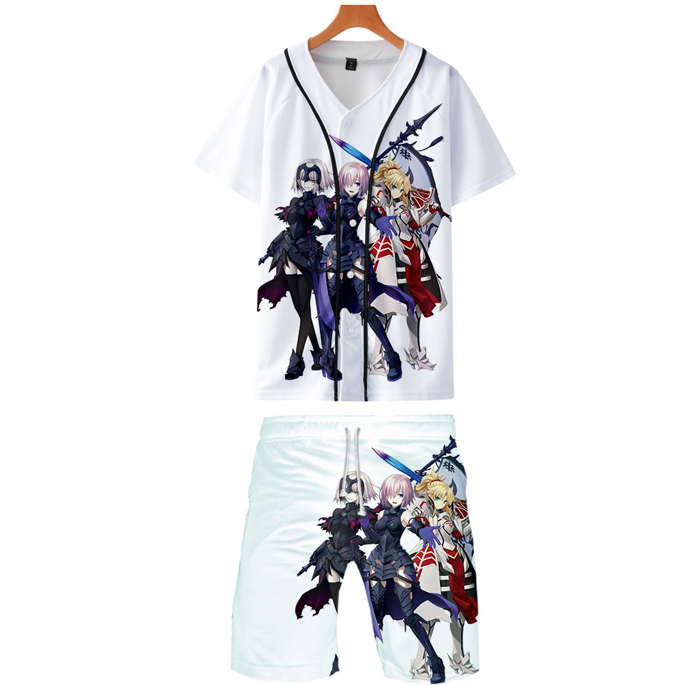 2019 FateGrand Order Two Piece Set Jackets And Shorts Kpop Fashion New Cool Print Baseball Jacket Set For Men Streetwear