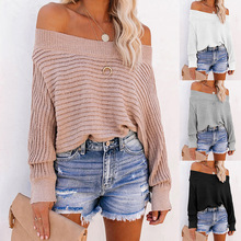 Sweater Women Striped Bat Sleeve Fashion Batwing Sleeve Pullovers Girls Pink Striped Off-the-shoulder Sweater Flat Knitted
