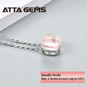 Image 2 - Pendentifs Quartz en argent Sterling Rose naturel 6.8 Carats, pierres en cristal naturel, Style romantique, cadeau pour dames, nouveau Style