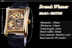 Image 3 - Winner 2017 Retro Casual Series rectángulo diseño de esfera patrón dorado hueco esqueleto reloj de los hombres de la mejor marca de lujo mecánico