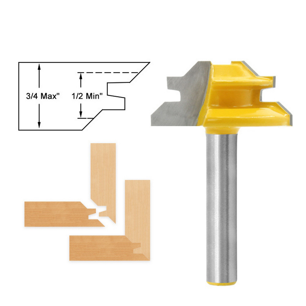 45 Degree Tenon Router Bit Woodworking Milling Cutter Right Angle CNC Tool Bit For Wood Jointed Bit 45 Degree Folding Knife 8*1