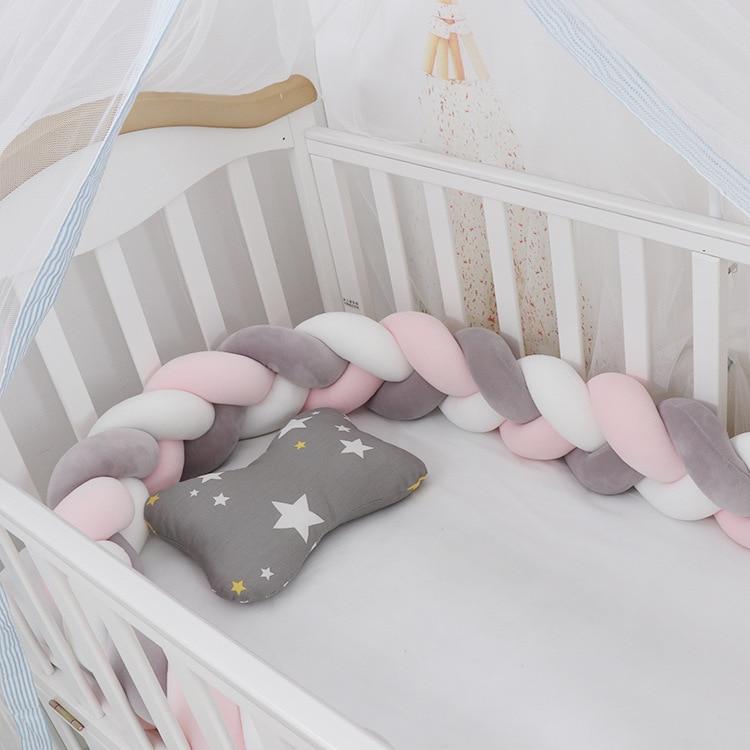 100cmBaby Stoßstange Bett Geflecht Knoten Kissen Kissen Stoßstange für Infant Kinder Krippe Protector Nestchen Room Decor Anti-kollision Stoßstange