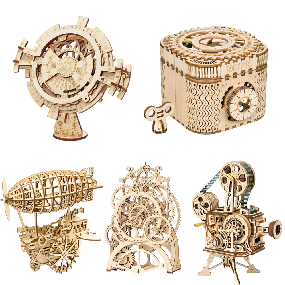 Robotime DIY 3D Wooden Puzzle Mechanical Gear Drive Model Toys Assembly Model Building Kit Toys Gift for Children