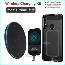 شاحن لاسلكي Qi لهاتف Huawei Y9 Prime 2019 ، شاحن لاسلكي Qi ، جهاز استقبال USB من النوع C ، محول Nillkin ، موصل هدية ، غلاف TPU