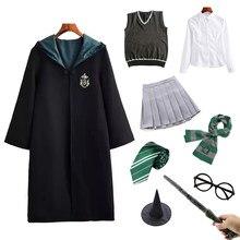 Potter traje escola mágica manto feiticeiro festa cosplay granger traje adulto crianças traje de halloween