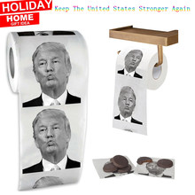 Hot!!! 1 Roll Creative President Donald Trump Humour Toilet Paper Bathroom Prank Joke Novelty Funny Paper Tissue Roll Gag Gift(China)
