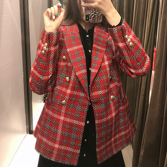 Fashion Double Breasted Plaid Blazers and Jackets Work Office Lady Autumn Women Suit Slim Business Female Blazer Coat Talever 6