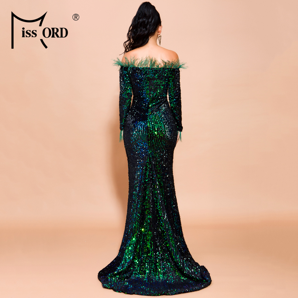 H4b979f1b46a54879af68767d120a6975o - Missord Sexy Off Shoulder Feather Long Sleeve Sequin floor length Evening Party Maxi Reflective Dress Vestdios FT19005