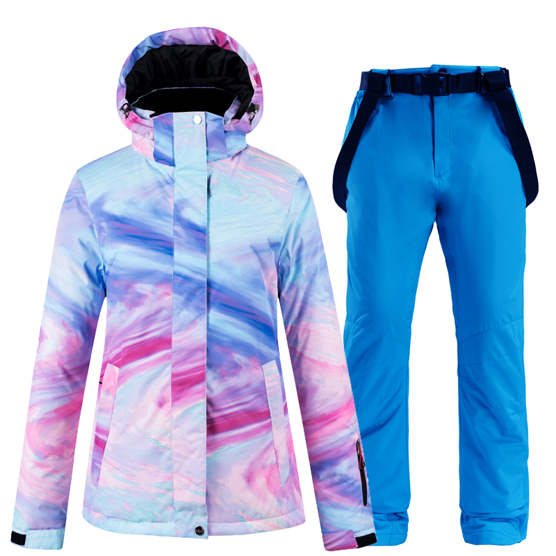 New Thick Warm Ski Suit For Women Waterproof Windproof Ski Suit And Snowboard Jacket Pants Set Women Winter Suits Street Wear
