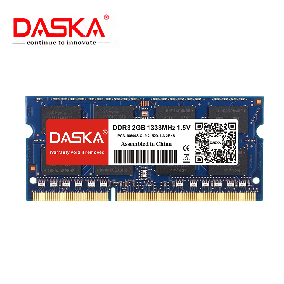 DASKA Laptop Ram DDR3 2GB 4GB 1600/1333 MHz SO-DIMM DDR 3 Notebook Memory 204pin 1.5V Lifetime Warranty