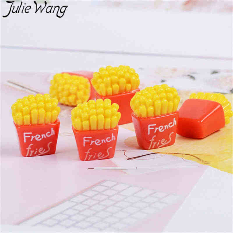 Julie Wang 10PCS Resin French Fries Charms Artificial Food Slime Jewelry Making Accessory Table Decoration Props