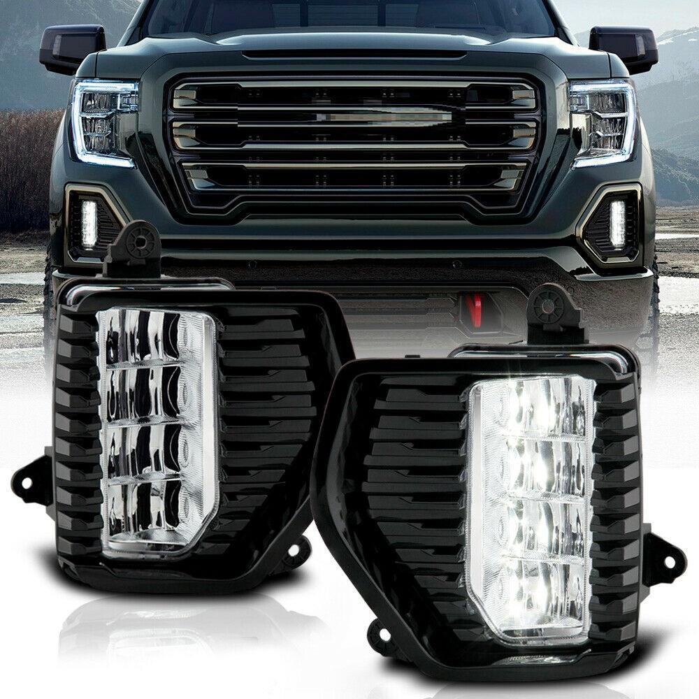 Car Light Led Fog Light Drl Lamp W/ Bezel Wiring Set Pair For 2019-20 Gmc Sierra 1500