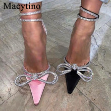 Chic Satin Wedding Shoes Ankle Beading Strap Pointed Toe High Heel Slingbacks