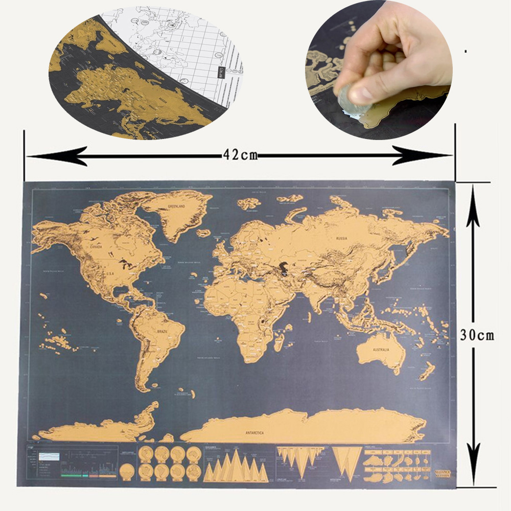 42*30 CM  Scratch Off Retro World Globe Map Personalized Poster With Country Flag Decoration For Office School Map On The Wall