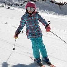 Водонепроницаемый лыжный костюм для детей; теплый зимний комплект для девочек; детская ветрозащитная куртка с капюшоном; куртка для сноуборда и штаны с мехом; зимняя одежда