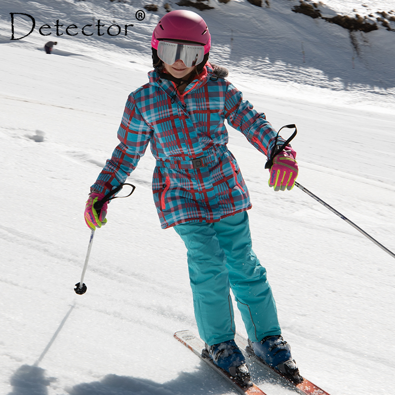 Detector Waterproof Ski Suit For Children Girls Warm Winter Set Kids Windproof Hoodie Snowboard Jacket And Pant Fur Snow Clothes