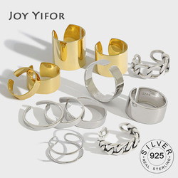 925 Sterling Silver Finger Rings for Women Minimalist Geometric Handmade Gold Color Width anillos Party Jewelry Gifts Rings
