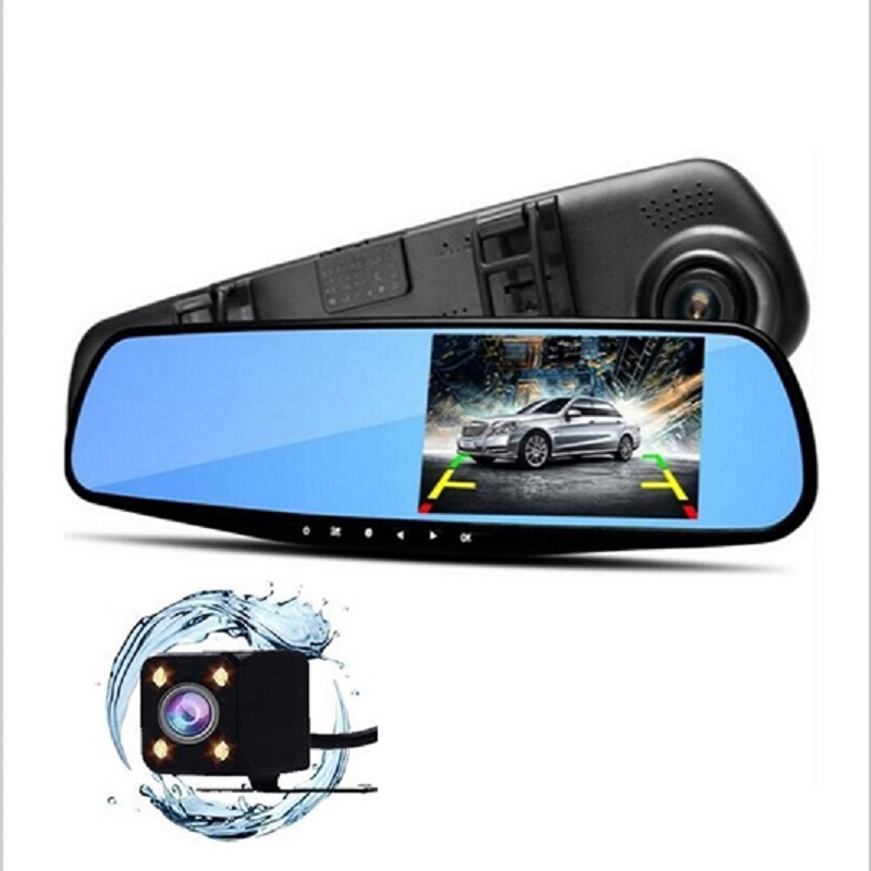 Full HD 1080P Car Dvr Camera Auto 4.3 InchWide Angle Rearview Mirror Digital Video Recorder Dual Lens Registratory Camcorder