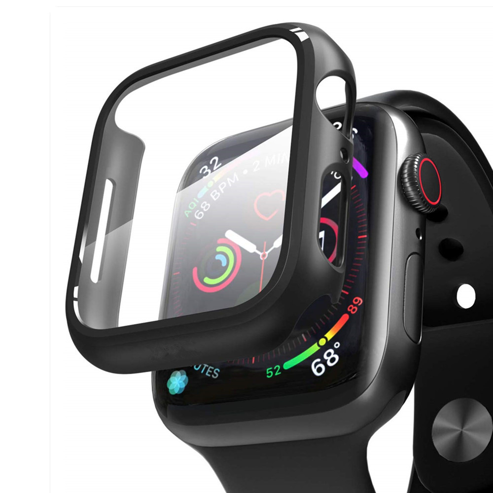 Tempered Glass+watch case For Apple Watch 5 3 4 44mm 40mm Screen Protector iWatch 5 3 2 42mm 38mm case cover bumper