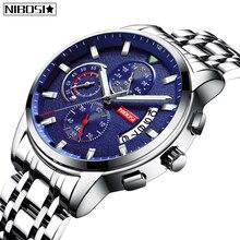 2019 New Watches Men Luxury Brand NIBOSI Chronograph Sport Full Steel Waterproof Quartz Watch Relogio Masculino