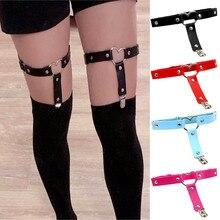 1 Pc Women Punk Heart Sexy PU Leather Garter Belt Harajuku Elasticity Body Harness Tight Suspender  Leg Harness Bondage Belts