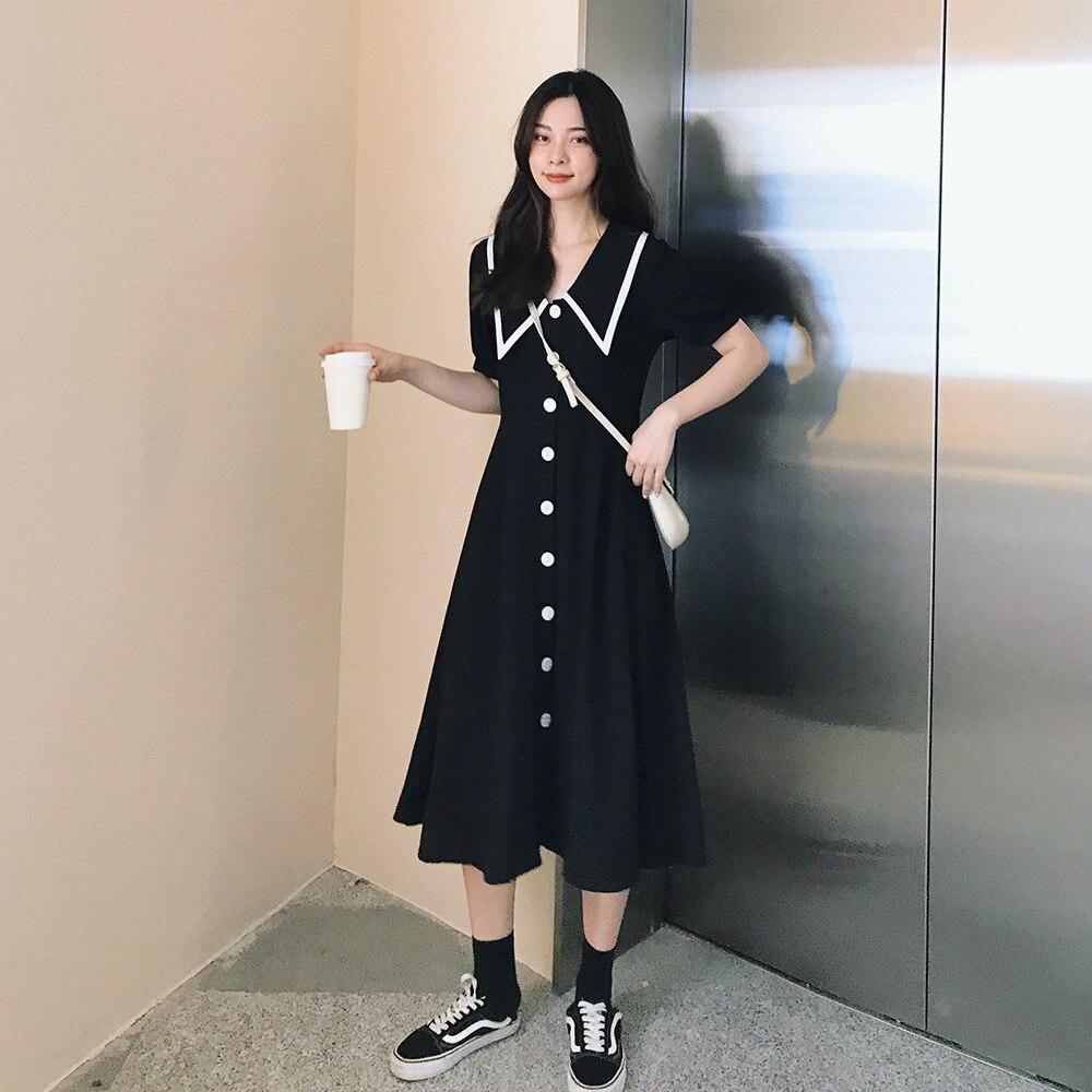 2019 New Style WOMEN'S Dress Summer Navy Collar Short-sleeve Dress High-waisted Elegant Long Skirts Big Hemline Type Black Dress