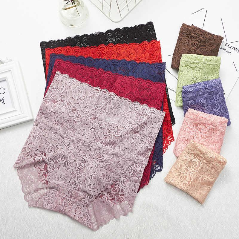 FINETOO ผู้หญิงสูงเอวกางเกงลูกไม้ M-3XL เซ็กซี่กางเกงกางเกงยีนส์กางเกงลูกไม้กางเกงไม่มีรอยต่อ PLUS ขนาดสั้นชุดชั้นในหญิง