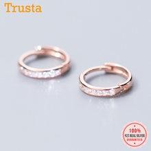 Trusta-pendientes de aro de Plata de Ley 925 para mujer y niña, joyería deslumbrante de CZ, Piercing DS2430