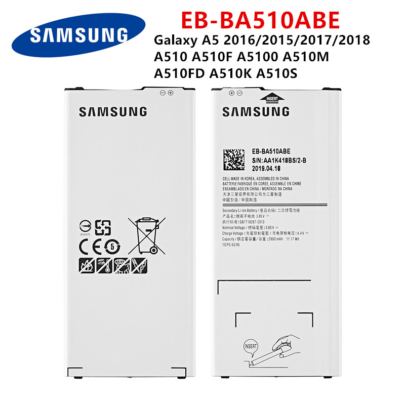 SAMSUNG Orginal EB-BA510ABE 2900mAh Battery For Samsung Galaxy A5 2016/2015/2017/2018 A510 A510F A5100 A510M  A510FD A510K A510S