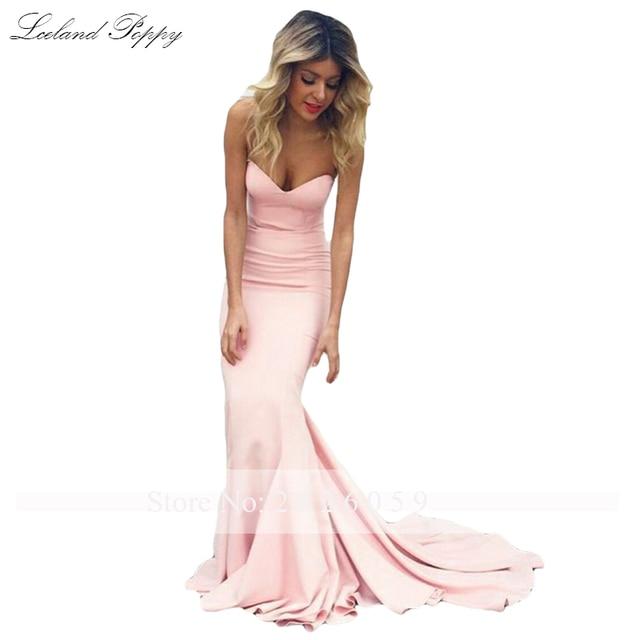 Lceland Poppy Strapless Mermaid Satin Evening Dresses Sleeveless Floor Length Formal Evening Gowns Sweep Train Robe de Soiree 6