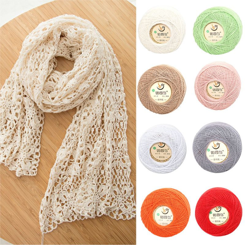 50g/Ball 2 Strand Thin DIY Cotton Lace Yarn Sweet Candy Color Crochet Hand-Woven Summer Silk Light Thread For Embroidery