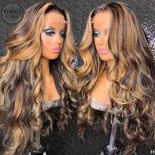Parrucche dei capelli umani anteriori del merletto dell'onda 13 × 6 di evidenziazione di stile di VINIDA parrucche della chiusura superiore del cuoio capelluto di densità 150% con i capelli del bambino Non Remy