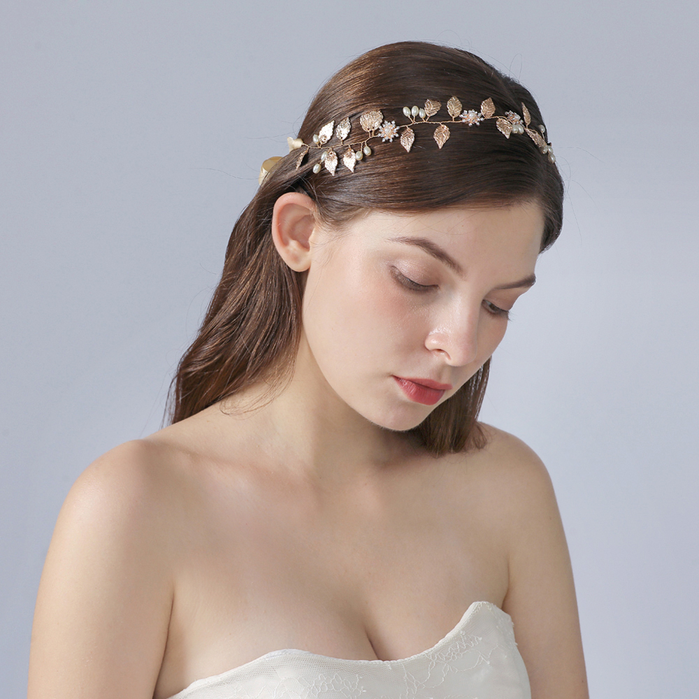 YouLaPan Golden Alloy Leaf Bridal Luxury Headband Gold Wedding Hair Vine Bridal Head Pieces for Women Hair Jewelry <font><b>HP110</b></font> image