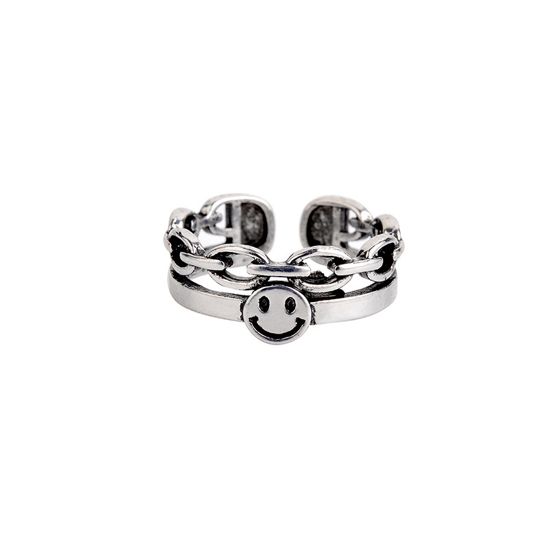 Punk Ancient Silver Color Happy Smiling Face Open Rings For Women Adjustable Stackable Link Twisted Ring Fashion Jewelry A835