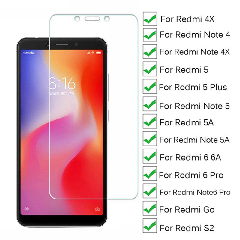 HJXRHGAL Protective Glass For Xiaomi Redmi 5 Plus 4X 5A 6A S2 Go Tempered Screen Protector For Redmi Note 4 4X 5 5A 6 Pro Glass