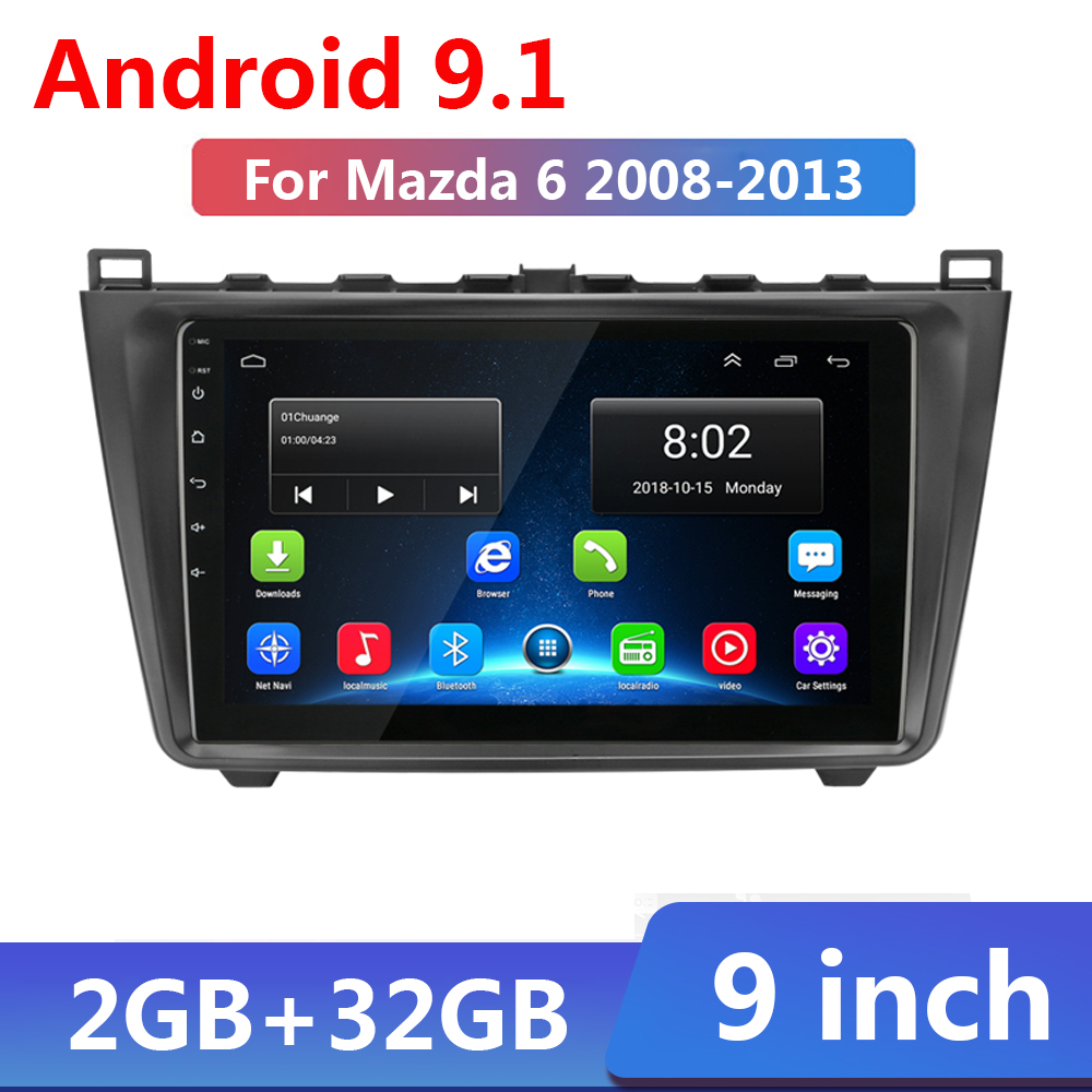 2G+32G Android 9.1 For <font><b>Mazda</b></font> <font><b>6</b></font> 2008 2009 2010 2011 2012 Car Radio Multimedia Video Player <font><b>Navigation</b></font> <font><b>GPS</b></font> 2 din no dvd WIFI BT image