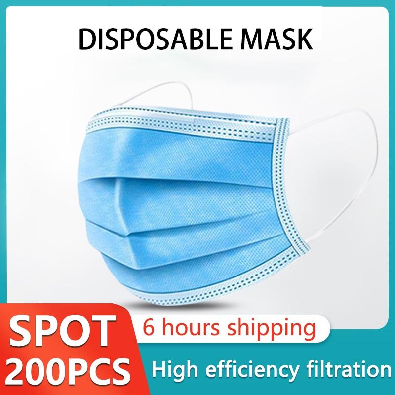 5 200 Uds máscara desechable no tejida 3 capas capa filtro máscara boca máscara filtro facial seguro máscaras transpirables a prueba de polvoMascarillas   -
