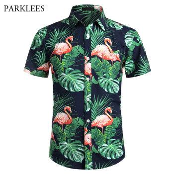 Nadruk flaminga koszula hawajska dla mężczyzn lato z krótkim rękawem męskie bawełniane plażowe hawaje Shits Casual zapinana na kieszeń Aloha Camisas tanie i dobre opinie PARKLEES CN (pochodzenie) COTTON KOSZULE CODZIENNE krótkie Wykładany kołnierzyk Jednorzędowe REGULAR efgesfggLFFDD Sukno