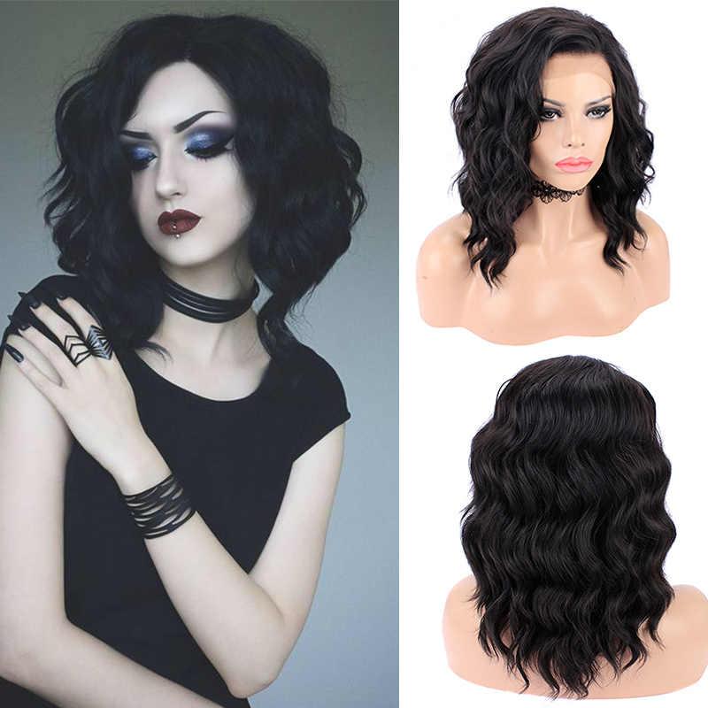 Imstyle czarna peruka krótki bob syntetyczna koronka przodu peruki dla kobiet głęboka fala naturalne włosy włókno termoodporne Glueless peruka do cosplay