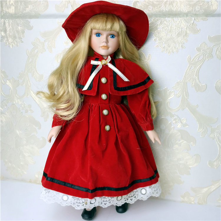 40cm Porcelain Doll Vintage Lady People Figure With Dress Wand Suit Collectible  BJD Doll