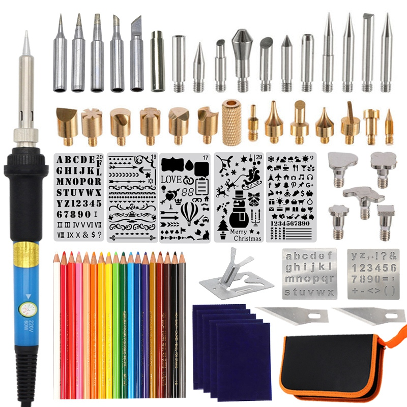 75Pcs Wood Burning Kit Tool Adjustable Temperature 60W Pyrography Pen Various Wood Embossing/Carving/Soldering Eu Plug
