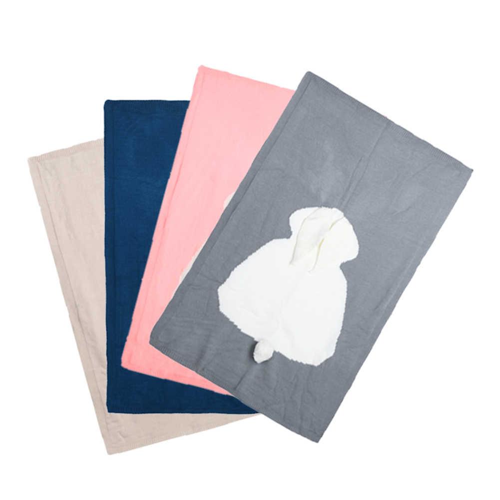 Koce dla dzieci noworodka śliczne duże ucho królika koc miękkie ciepłe dzianiny Swaddle dzieci ręcznik dziecko maluch pościel koce