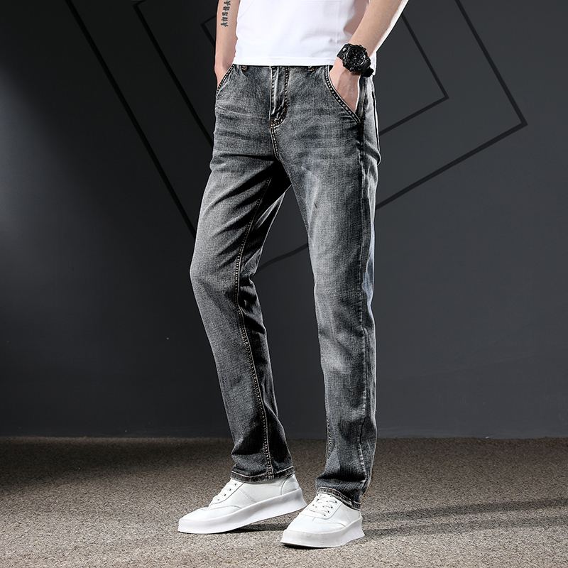 KSTUN Men's Jeans Classic Straight Regular Fit Grey Blue Stretch Jeans for Men Spring Summer Casual Denim Pants Long Trousers 18