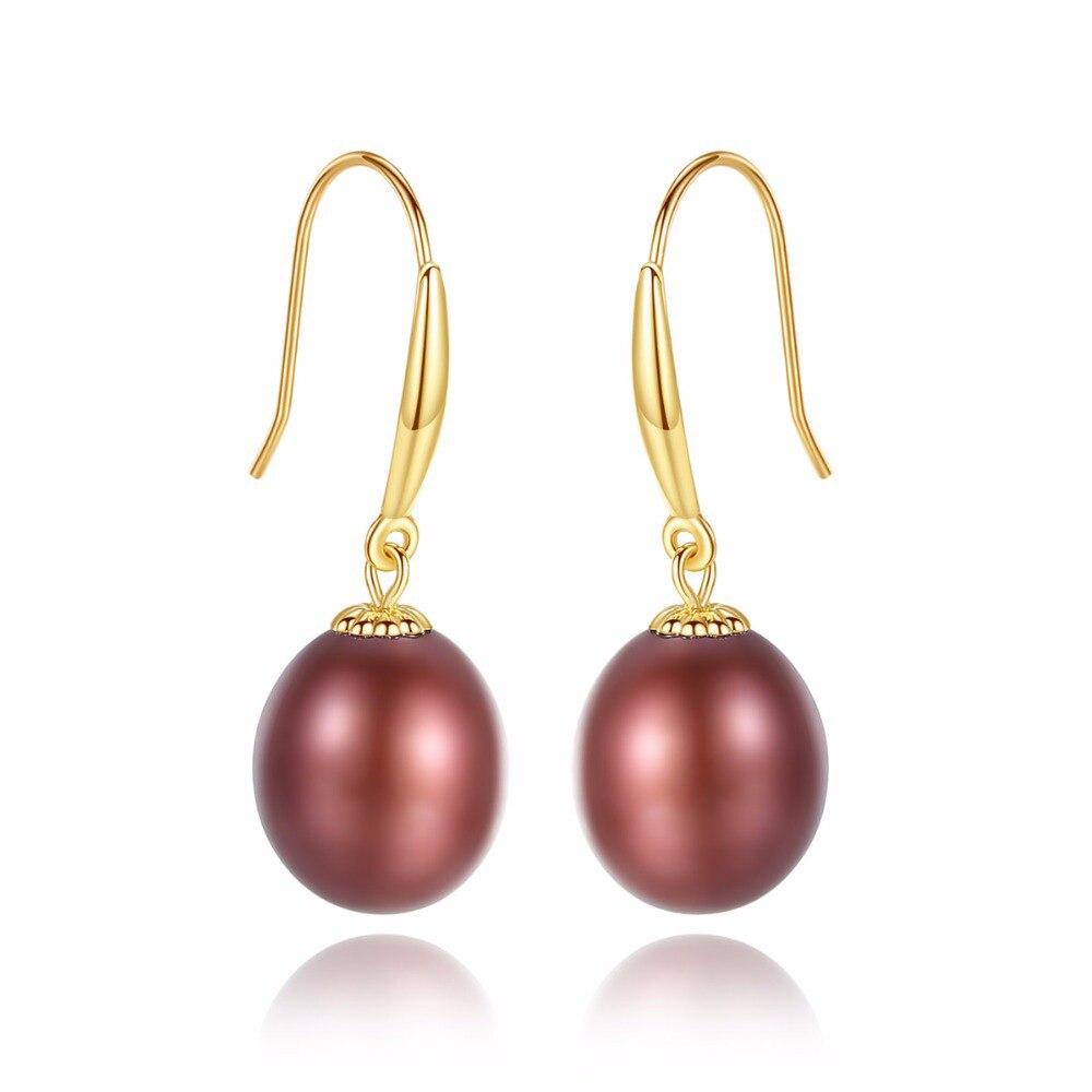 Fenchen Real 18K or 7-8mm perle naturelle boucles d'oreilles pour femmes brillamment perles d'eau douce crochet boucles d'oreilles bijoux cadeaux AE133