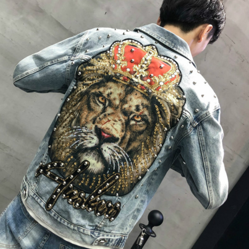 High Quality Punk Sequins Beaded Men's Denim Jacket Streetwear Hole Jeans Jacket Casual Outerwear Bomber Jacket Chaquetas Hombre